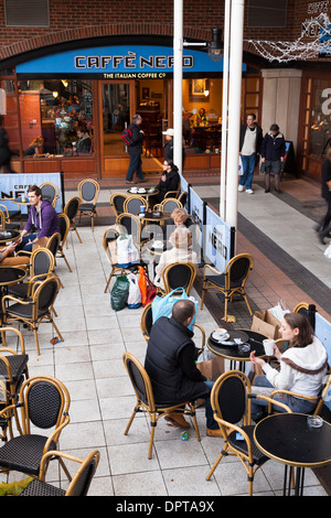 Caffe Nero outside seating coffee shop. - Stock Photo