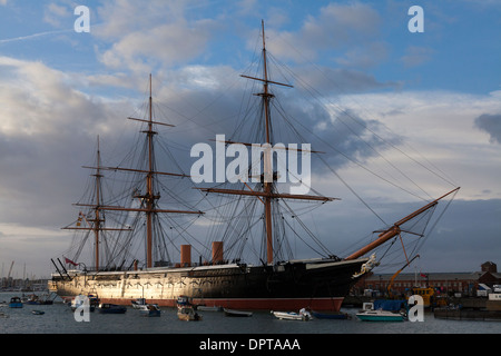 HMS Warrior at Portsmouth Historic Dockyard. - Stock Photo