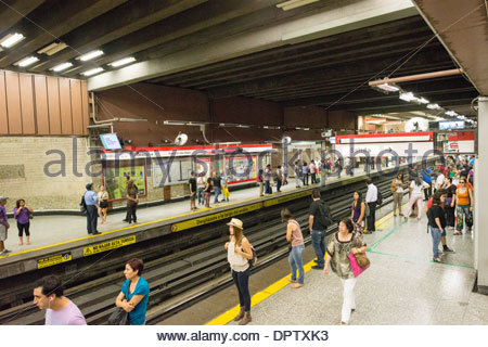 SANTIAGO, Chile - The platform for the metro subway system at Plaza de Armas Metro Station in downtown Santiago - Stock Photo