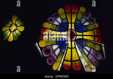 Antonio Gaudi (1852-1926). Catalan architect. Stained glass window. 19th century. Crypt of the Colonia Guell. Catalonia. - Stock Photo