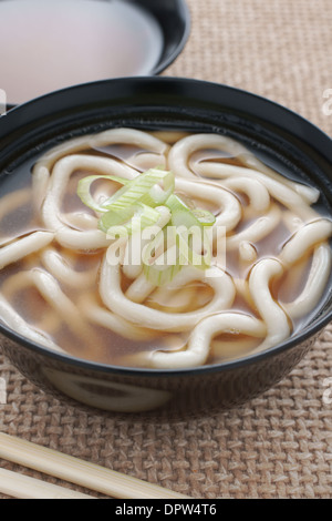 Udon Noodles in a soup base with scallions known as Kake udon or Su udon in Japanese cuisine - Stock Photo