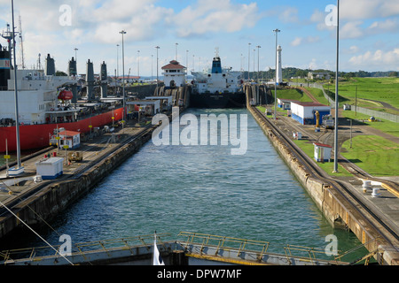 Ships passing through the Panama Canal - Stock Photo