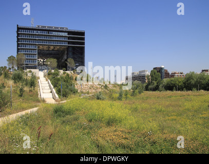The new town hall on the Berges du Lez, Port Marianne district Montpellier, Languedoc Roussillon, France - Stock Photo