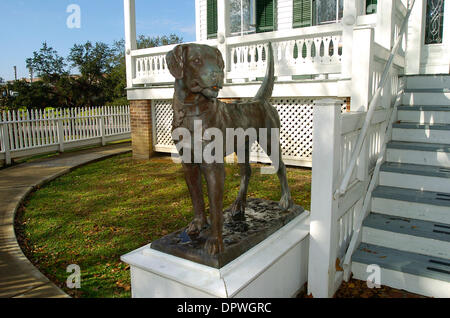 Jan 06, 2009 - Houston, Texas, USA - One of the two Pillot dog sculptures in front of the Pillot House in Houston, - Stock Photo