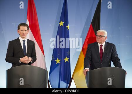 Berlin, Germany. 15th Jan, 2014. Foreign Minister Steinmeier meets his counterparts from Austria, Sebastian Kurz, - Stock Photo