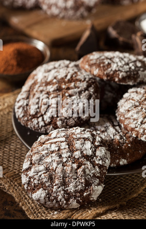 Homemade Chocolate Crinkle Cookies with Powdered Sugar - Stock Photo