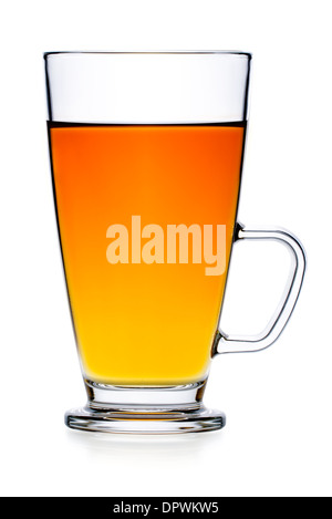 Drinks: fresh black tea in glass teacup, isolated on white background - Stock Photo