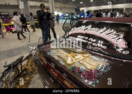Nov 25, 2008 - Chiba, Japan - Customized classic cars showcasing the American lowrider culture are displayed at - Stock Photo