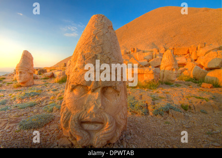 Huge Zeus sculpture Mt. Nemrut National Park Turkey Ancient remnants of 2000 year old Commagene culture on 7,000 - Stock Photo