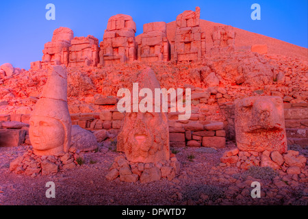 Huge sculpted heads Mt. Nemrut National Park Turkey Ancient remnants of 2000 year old Commagene culture on 7,000 - Stock Photo