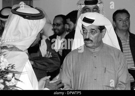 Doha, Qatar - Jan 15, 2014: Qatari Minister of Arts Culture and Heritage, HE Dr Hamad bin Abdulaziz al-Kuwari (centre),talks - Stock Photo
