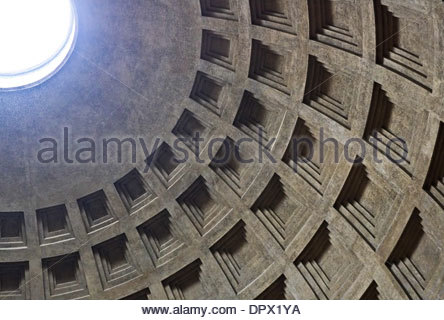 Ceiling of the Pantheon temple in Rome, Italy - Stock Photo