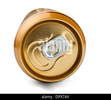 Top of golden aluminum drink can isolated on white - Stock Photo
