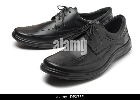 Pair of mans leather black shoes isolated on white - Stock Photo