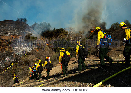 Glendora, California, USA. 16th Jan, 2014. Firefighters battle the Colby Fire above Glendora. At least two homes - Stock Photo