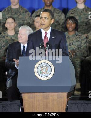 Feb 27, 2009 - Camp Lejeune, North Carolina, USA - President BARACK OBAMA visits with U.S. Marines at Camp Lejeune - Stock Photo