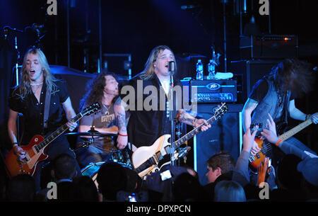 Feb 28, 2009 - Raleigh, North Carolina - (L-R) Guitarist BEN WELLS, Singer/Guitarist CHRIS ROBERTSON, Drummer JOHN - Stock Photo