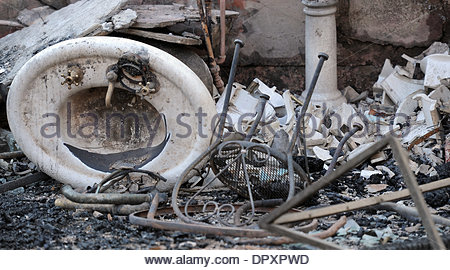 Glendora, California, USA. 16th Jan, 2014. A burned out sink during the Colby Fire, a 1,700-acre plus brush fire - Stock Photo