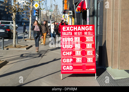 Foreign currency exchange rate board in Bucharest, Romania - Stock Photo