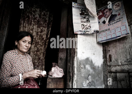April 15, 2009 - Kathmandu, Nepal - A woman in her home. For the last three years, Nepal has been a Democratic Republic. - Stock Photo