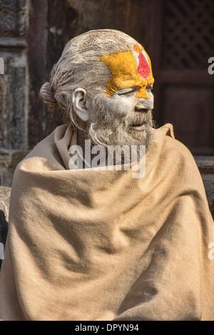Portrait of a sadhu, Kathmandu, Nepal - Stock Photo