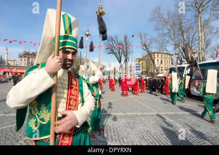 Mar 21, 2009 - Istanbul, Turkey - A mahtar, a member of the Ottoman Military Band (mahtar team or mahtaran team), - Stock Photo