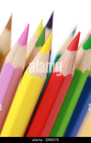 Group of colored pencils, isolated on white - Stock Photo