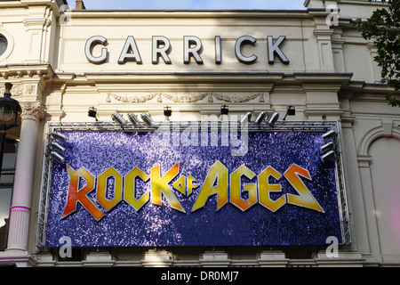Garrick Theatre in Londons theatre land, advertising Rock of Ages, Charing Cross Road, London, England, UK - Stock Photo