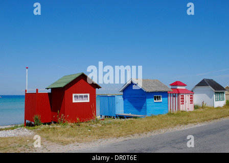 Aero island, beach Huts at Aeroskoebing  Vesterstrand, fyn, Denmark, Scandinavia, Europe - Stock Photo