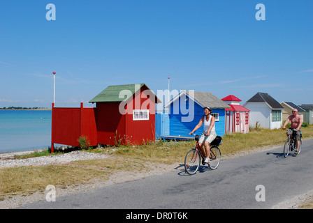 Aero island, beach Huts at Aeroskoebing  Vesterstrand, fyn, Denmark, Scandinavia, Europe - Stock Photo