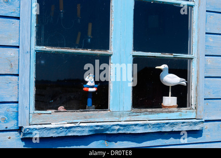 Aero island, window, beach Huts at Aeroskoebing  Vesterstrand, fyn, Denmark, Scandinavia, Europe - Stock Photo
