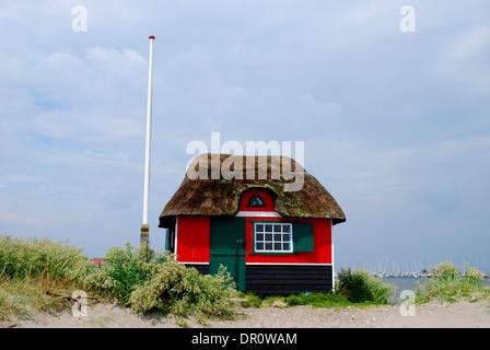 Beach hut at Marstal beach, aero island, fyn, Denmark, Scandinavia, Europe - Stock Photo