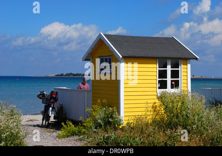 Aero island, beach Huts at Aeroskobing  Vesterstrand, fyn, Denmark, Scandinavia, Europe - Stock Photo
