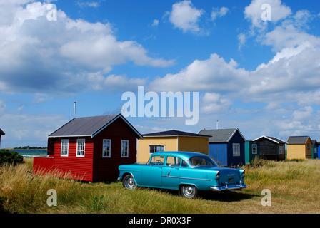 Aero island, beach Huts at Aeroskobing  Vesterstrand, fyn, Denmark, Scandinavia, Europe - Stock Photo