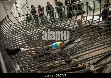 London, UK. 17th Jan, 2014. Views of surviving timbers from longest Viking warship ever found displayed in the UK - Stock Photo