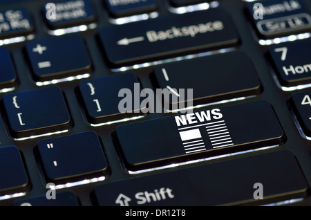 concept news icon on enter key of keyboard - Stock Photo