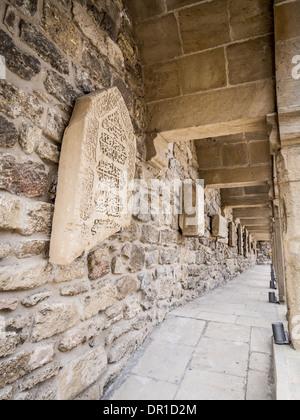 Courtyard with lapidarium in Icheri Sheher (Old Town) of Baku, Azerbaijan - Stock Photo