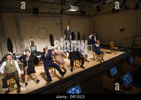 Welsh language theatre studies students performing actors acting in 5:7, a multimedia drama at Aberystwyth university, - Stock Photo