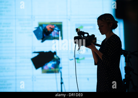 Welsh language theatre studies students performing actors acting in 5:7, a digital multiplatform multimedia drama - Stock Photo