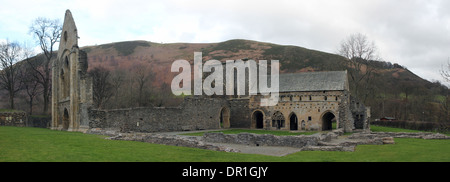 Valle Crucis Abbey, 13th century, Cistercian monks monastery near Llangollen in the Dee Valley - Stock Photo