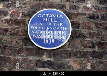 English Heritage Blue Plaque for Octavia Hill - Stock Photo