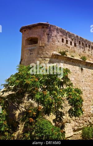 Historic fortifications in Valletta on the island of Malta. - Stock Photo