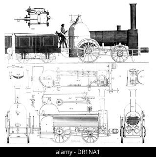 Mess'rs Bury Curtis & Kennedy. Four Wheeled Locomotive Engine circa 1830 - Stock Photo