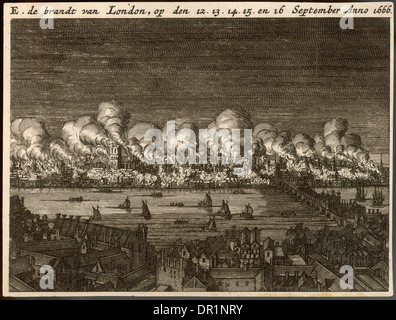 GREAT FIRE OF LONDON - Stock Photo