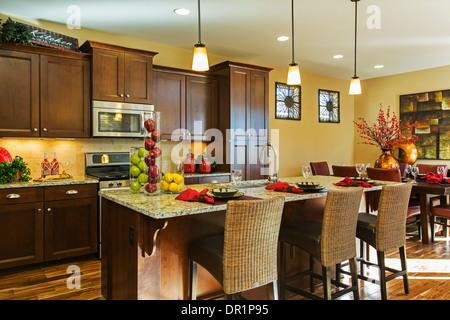 Kitchen, Village Homes model home, Arvada, Colorado USA - Stock Photo