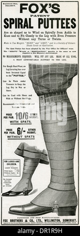 Advert for Fox's puttees stockings 1903 - Stock Photo