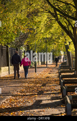 Couple of people walking along a quiet, scenic, sunlit, tree-lined footpath on a sunny day in early autumn - Dame - Stock Photo