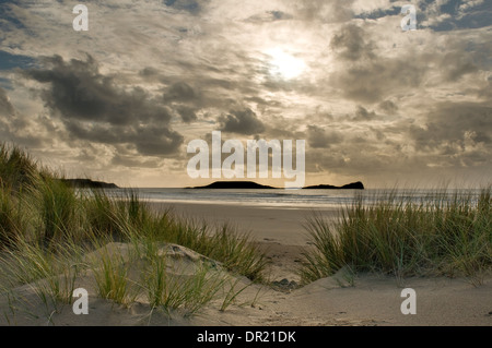 Rhossili Bay viewed from Hillend Burrows - Stock Photo