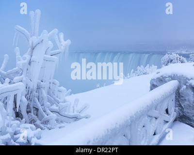 Niagara Falls Horseshoe waterfall covered with snow and ice, wintertime scenery. Ontario, Canada. - Stock Photo