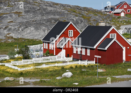Colorful houses in Nuuk (Godthab), Greenland - Stock Photo